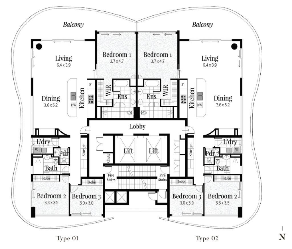3 Bedroom Half Floor Residences